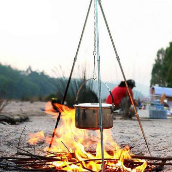 Outdoor hanging pot holder, picnic picnic portable lightweight tripod, campfire planes, camping trips, survival supplies