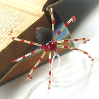 Beaded Spider // Handmade Ornaments // Christmas Tree Ornaments // Christmas Spider // Tree Decorations // Rustic Christmas Ornaments