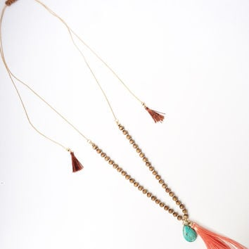 Coral & Turquoise Tassel Necklace