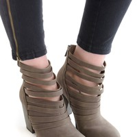 Mile High Strappy Booties Taupe