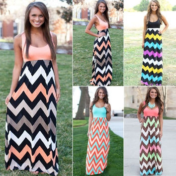 2015 Hot NEW Sexy Women Summer Long Maxi BOHO Evening Party Dress Beach Dresses Sundress = 1827658244