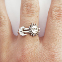 Sun and Moon Stacking Ring, Set of Two Sterling Silver Rings, Casted Sun and Moon