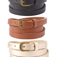 Brown Combo Solid & Metallic Skinny Belts - 3 Pack by Charlotte Russe