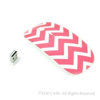 TopCase Chevron Series Pink USB Optical Wireless Mouse for Macbook (pro , air) and All Laptop + TopCase Designed Chevron Mouse Pad