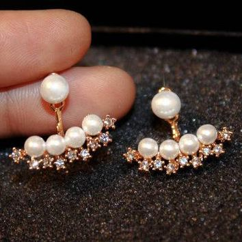 New star zircon simulated pearl ear jacket earrings for women bijoux fashion jewelry cute gold-color