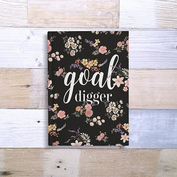 Custom Journal, Personalized Notebook, 5x7 Cute Hard Cover Journal, goal journal, black floral, Blank or Lined paper - Goal Digger