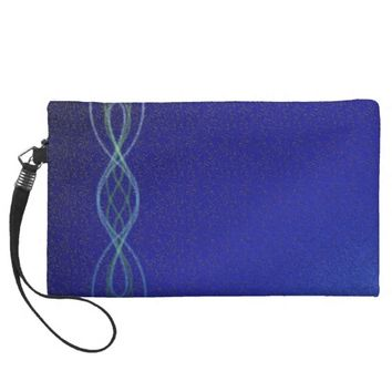 Dark Blue Lights Wristlet Purse