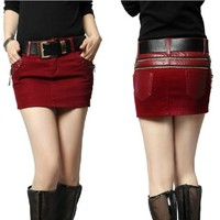 Butterfly Belle autumn and winter PU skin cotton hip skirts - DinoDirect.com