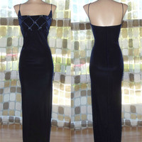 Vintage 90s Midnight Blue Velvet Wiggle Dress Party Gown 13/14 Bombshell Side Slit Goth
