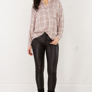 Button Down Plaid Top in Taupe White