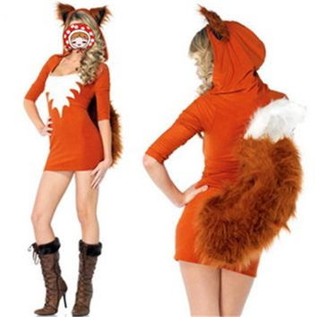2017 New Adult Sexy Cute Orange Tail Fox Halloween Animal Women Costumes Slim Bodycon Dresses Carnival Party Faux Fur Costume