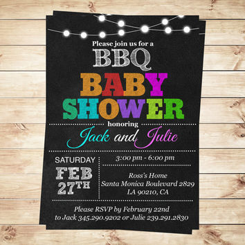 Printable Couples BBQ Baby Shower Invitation, BBQ Baby Shower Invitations and Announcements, Custom Baby Shower, Art Party Invitation
