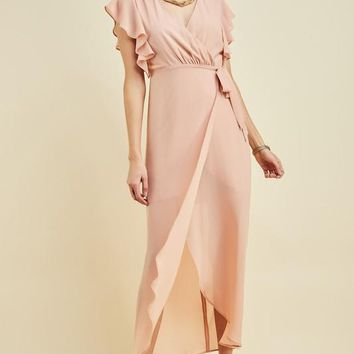 Kokomo Wrap Maxi Dress in Blush
