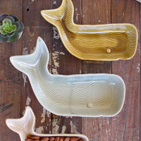 Set of 3 Ceramic Whale Platters