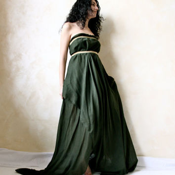 Ethereal fairy gown in moss green muslin - gold & green fairy dress - OOAK alternative wedding gown - elf wedding