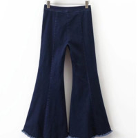 FREE SHIPPING Summer-inspired asymmetrical flared jeans with large elastic bottoms and flared jeans