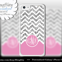 Pink Sparkle Monogram iPhone 5C case 5 iPhone 4 Case iPhone 5S Ipod 4 5 Case White Chevron Zig Zag Personalized *NOT actual Glitter