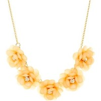 Pale Peach Beaded Flower Collar Necklace by Charlotte Russe