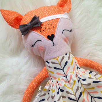 Toddler Toys. Fiona the Girl Fox Doll. Customizable Dress Up Cloth Rag Doll. Animal Plushie. Gifts for Kids. Personalized Pretend Play Toys.