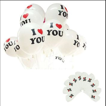 100pcs/lot 12 inch White Red  I LOVE U Pearl Latex Inflatable Balloon Wedding Birthday Party Decoration Present Toys Ball