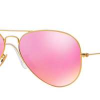 RAY BAN RB 3025 GOLD WITH PINK MIRROR LENS