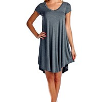 Curvy Short Sleeve  Flared Tunic Dress, Dark Grey