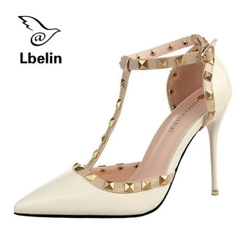 Summer Fashion Women Sandals Ankle Straps High Heels Shoes Red Bottom High Heels 9cm leather Bridal Wedding Shoes Women Pumps