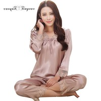 New autumn Women sleep & lounge wear sexy hollow out lace v-neck home clothing 4 colors pyjama femme homewear