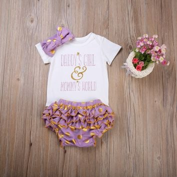 Newborn Toddler Baby Girls daddy and mommy Clothes Rompers +Ruffel shorts bottom +Headband 3Pcs kids girls Set