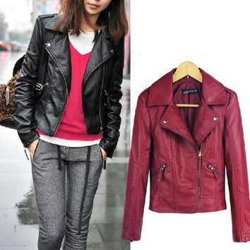 WOMEN PU Soft Leather Zipper Jacket coat S-XL = 1930183684