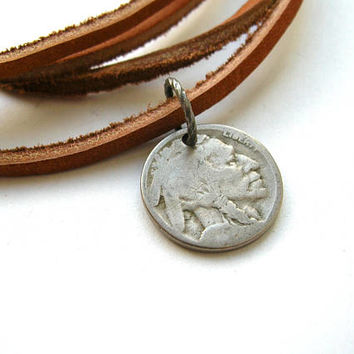 Buffalo Head Nickel Necklace - Leather Native American Coin Necklace - Men's Necklace