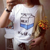 Summer Fashion Women Japanese Harajuku Cute Soft Milk Box Print Loose Short Sleeve T Shirts Lady Girls Basic Tee T Shirts Tops-in T-Shirts from Women's Clothing & Accessories on Aliexpress.com | Alibaba Group