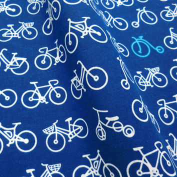 Japanese Tenugui bicycles fabric, Japanese blue fabric, cute fabric tenugui, kawaii fabric, indigo blue Japanese fabric, kimono fabric