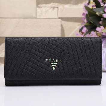 Prada Women Shopping Leather Buckle Wallet Purse
