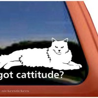 Got Cattitude? Lounging Cat Vinyl Window Decal Sticker