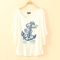 Blue Anchor Print T-shirt for Women