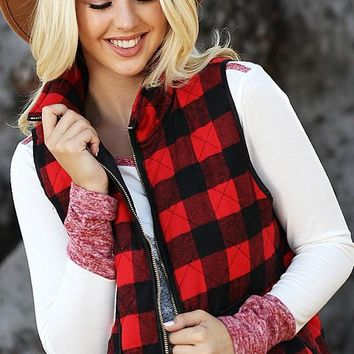 Brittany Buffalo Plaid Quilted Vest