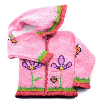 Girls Ladybug Hand-knitted Sweater Infant, Toddler, and 4-6