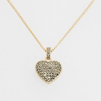 Women's Judith Jack Reversible Pave Heart Necklace - Marcasite/ Gold