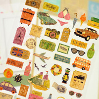 Story of Travel Decorative Sticker Set Diary Album Label Sticker DIY Scrapbooking Stationery Stickers Escolar