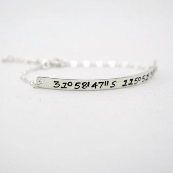 Personalized Hand Stamped Custom Latitude and Longitude Coordinates Bracelet - Sterling Silver Skinny ID Bar - Long Distance Relationship