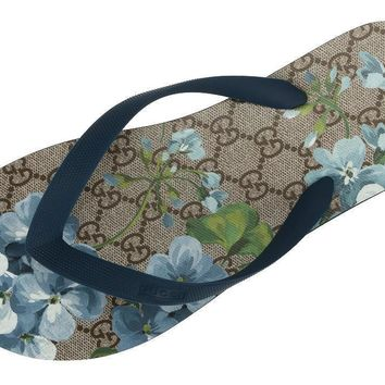 NEW GUCCI BLOOMS LOGO FLIP FLOPS BEACH SUMMER SLIDES THONG SANDALS SHOES 9G/US 9