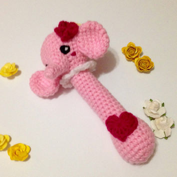 Amigurumi Elephant Crochet Elephant Crochet Baby Rattle Stuffed Toy Elephant Nursely Toy Kawaii Pink Elephant Plush Baby Shower Gift Ideas