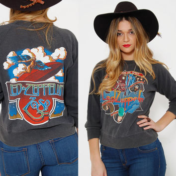 Vintage 70s LED ZEPPELIN Sweatshirt Black Cotton Rock Shirt Black Distressed Sweatshirt Song Remains The Same Shirt