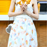 White Ice-cream Print Chiffon Skater Skirt