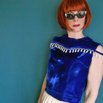 Vintage Blue Velvet Top - 1960s One of a Kind Beaded Evening Blouse