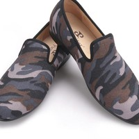 Classic Camouflage men smoking slippers Handmade men Mix color canvas men casual and prom flats