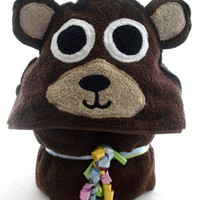 Brown Bear Childrens Hooded Towel  READY by gigglesngrowlstowels