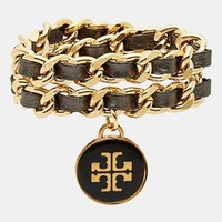 Tory Burch Leather Woven Chain Wrap Bracelet