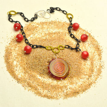 Red Spiral Lampwork Pendant Necklace